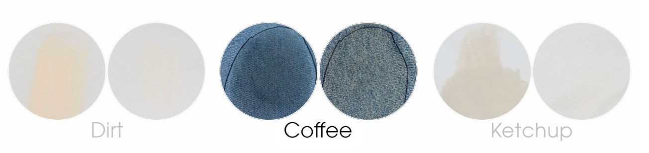 coffee on denim before and after